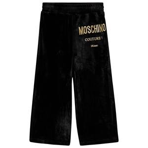 Moschino Kid-Teen Velour Culotte Pants Black and Gold 12 years