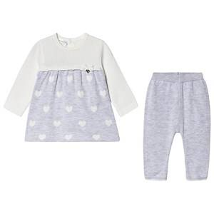 Image of Mayoral Knitted Leggings and Dress Set Cream and Grey 2-4 months