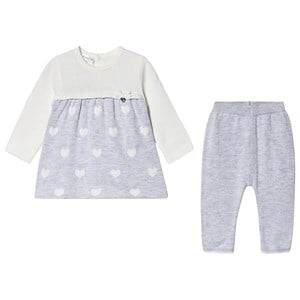 Image of Mayoral Knitted Leggings and Dress Set Cream and Grey 1-2 months