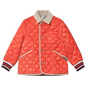 Burberry Diamond Quilted Jacket Bright Coral Orange 4 years