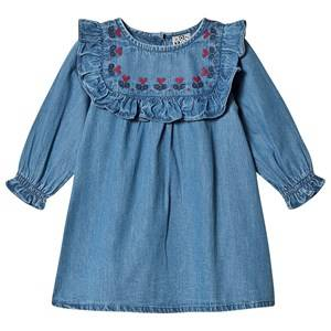 Image of Bonton Embroidered Chambray Baby Dress 6 Months