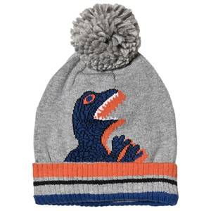 Paul Smith Junior Bobble Beanie Hat Dino Print Grey Beanies