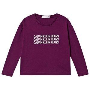 Image of Calvin Klein Jeans Triple Logo Tee Dark Purple 10 years