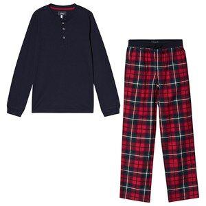 Tom Joule Check Settledown Pajama Set Navy & Red Pyjamas
