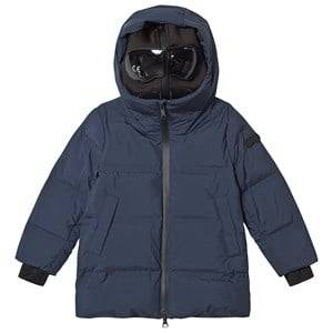 AI Riders on the Storm Long Down Jacket with Heat Sealed Quilting Navy Ski jackets