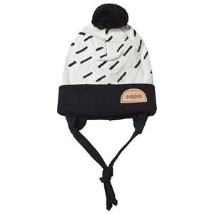 Image of Papu Windy Day Pom-Pom Beanie Cream and Black Beanies