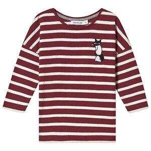 One We Like Stripe Fox Long Sleeve T-Shirt Syrah and White Winter 10Y (134/140 cm)