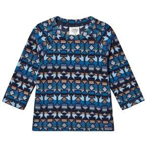 Patagonia Baby Micro D Fleece Baselayer Top Blue Print 12-18 months