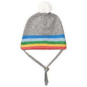 The Bonnie Mob Hey Rainbow Stripe Pom Pom Knit Hat Grey Beanies
