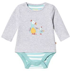 Image of Frugi Poppet 2 in 1 Baby Body Grey Marl/Dodos 6-12 months