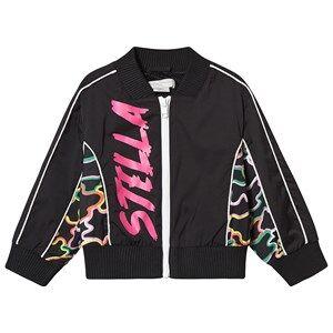 Stella McCartney Kids Sport Logo Print Bomber Jacket Black and Neon 3 years