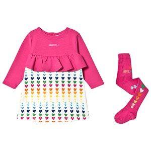 Agatha Ruiz de la Prada Heart Print Dress and Tights Set Fuchsia/Cream 36 months