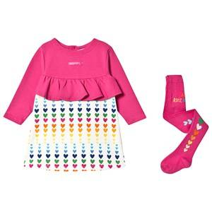 Agatha Ruiz de la Prada Heart Print Dress and Tights Set Fuchsia/Cream 6 years
