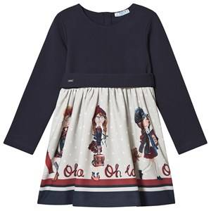 Image of Mayoral Graphic School Girls Belted Dress Navy 2 years