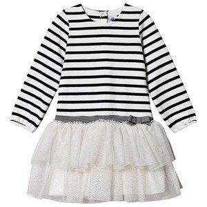 Image of Petit Bateau Mariniere Dress Marshmallow White/Navy 24 Months