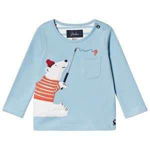 Tom Joule Polar Bear Applique Peeker Infants Long Sleeve T-shirt Blue 3-6 months