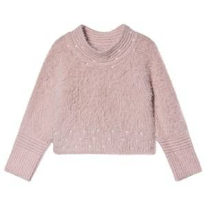 Image of Mayoral Pearl Detail Fluffy Knit Sweater Pink 4 years
