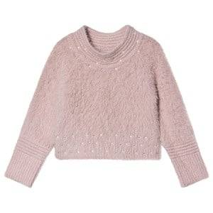 Image of Mayoral Pearl Detail Fluffy Knit Sweater Pink 6 years