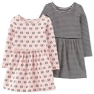 Image of Carters 2-Pack Jersey Dresses Black/Pink 2 Years