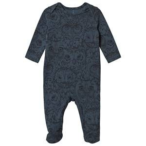 Image of Soft Gallery Owl Footed Baby Body Orion Blue 9 Months