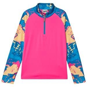Image of Spyder Printed Limitless Surface 1/2 Zip Base Layer Top Pink/Blue M (10-12 years)