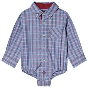 Andy & Evan Chambray Check Classic Shirt Blue 6 years