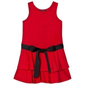 Ralph Lauren Layered Hem Dress with Ribbon Belt Detail Red 6 years