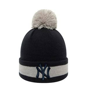 New Era New York Yankees Pom-Pom Beanie Navy and Grey Beanies