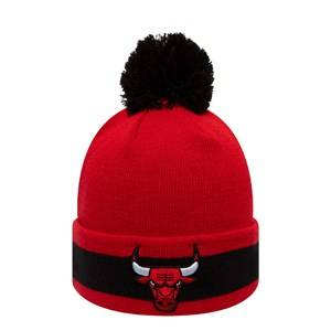 Image of New Era Chicago Bulls Pom-Pom Beanie Red and Black Beanies