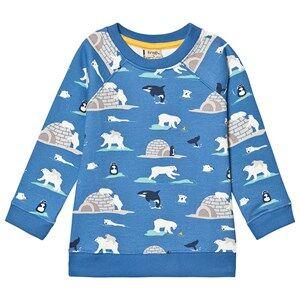 Frugi Organic Multi Polar Bear Sweatshirt Blue 5-6 years