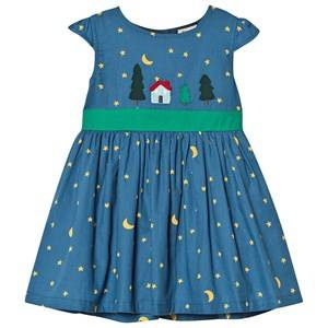 Frugi Organic Sparkle & Shine Dress with Tie Waistband Navy 6-12 months