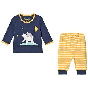 Frugi Organic Pajamas with Polar Bear Applique Blue Pyjamas