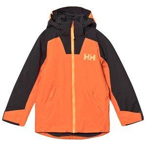 Image of Helly Hansen Color Block Junior Twister Jacket Orange/Khaki Ski jackets