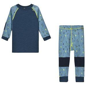 Image of Helly Hansen Printed Kids Lifa Merino Baselayer Set Dark Blue 8 years