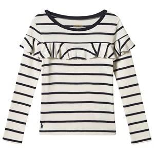 Image of Ralph Lauren Frill Long Sleeve Tee White and Navy M (8-10 years)