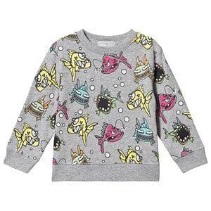 Stella McCartney Kids Angry Fish Sweatshirt Grey 4 years