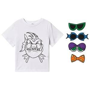 Stella McCartney Kids Funny Face Angry Fish Tee White 3 years
