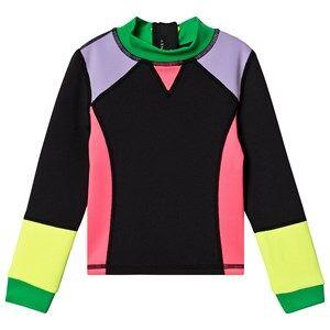 Image of Stella McCartney Kids Color Block Long Sleeve Rash Guard Tee Black 10 years