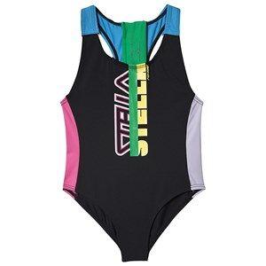 Stella McCartney Kids Color Block Sport Swimsuit Black 14 years
