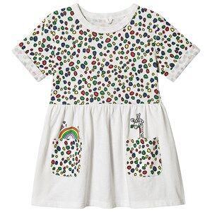Stella McCartney Kids Multi Dots and Giraffe Print Rib Dress White 2 years