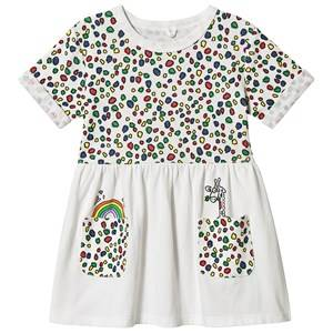 Stella McCartney Kids Multi Dots and Giraffe Print Rib Dress White 5 years