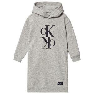 Image of Calvin Klein Jeans Logo Hoodie Dress Light Grey Heather 8 years