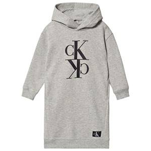 Image of Calvin Klein Jeans Logo Hoodie Dress Light Grey Heather 6 years