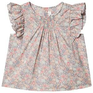 Bonpoint Floral Liberty Print Smocked Ruffle Sleeve Blouse Pink 6 years
