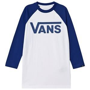 Vans Logo Long Sleeve Tee White and Blue L (12-14 years)