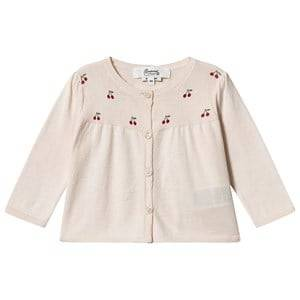 Image of Bonpoint Cherry Logo Knit Cardigan Pink 3 years