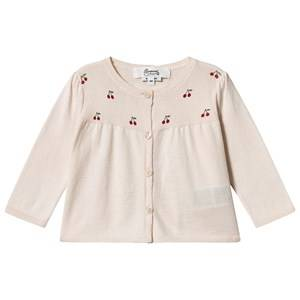 Image of Bonpoint Cherry Logo Knit Cardigan Pink 6 months