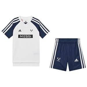 adidas Performance Messi Stripe Tee and Shorts White/Navy 13-14 years (164 cm)