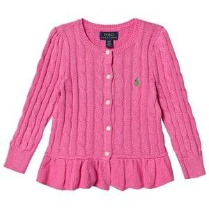 Image of Ralph Lauren Peplum Cable Knit Cardigan Pink 2 years