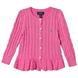 Image of Ralph Lauren Peplum Cable Knit Cardigan Pink 3 years